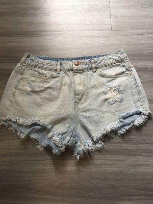 H&M Pantalón corto de talle alto azul celeste