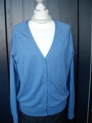 H&M: Hellblauer Cardigan, sehr weiches Material (L), Bio-Baumwolle