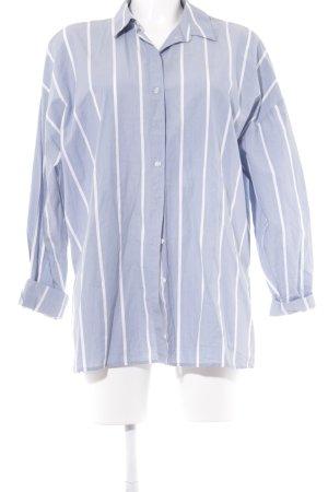H&M Hemd-Bluse blassblau-weiß Streifenmuster Casual-Look
