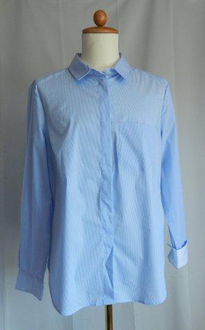 H&M,Hemd Bluse,Business,hellblau-weiss sehr fein gestreift ,Gr.46,neu
