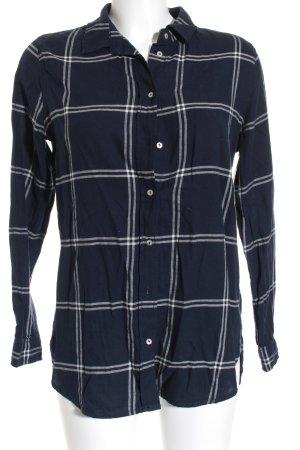 H&M Hemd-Bluse dunkelblau-weiß Karomuster Casual-Look