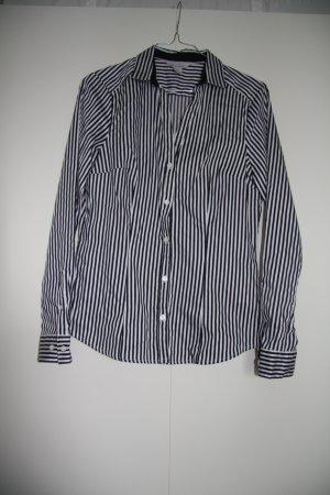 H&M Hemd Bluse gestreift langarm weiß blau leichter Stretch Gr. 38