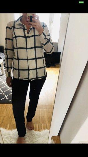 H&M Hemd Bluse kariert beige schwarz 36