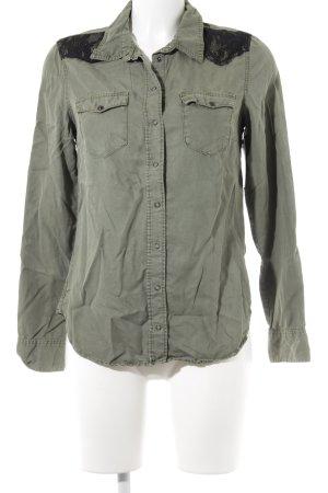 H&M Hemd-Bluse khaki-schwarz Casual-Look