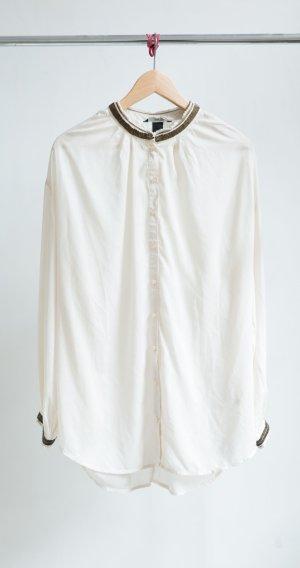 H&M Hemd Bluse - mit altgold Perlen
