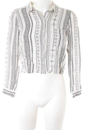H&M Hemd-Bluse weiß-schwarz Ethnomuster Boho-Look