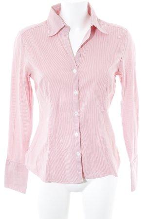 H&M Hemd-Bluse wollweiß-hellrot Streifenmuster schlichter Stil