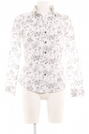 H&M Hemd-Bluse wollweiß-schwarz Blumenmuster Casual-Look