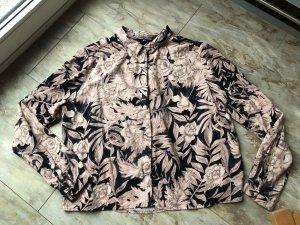 H&M Hemd cropped Blumen schwarz/altrosa Gr. 40