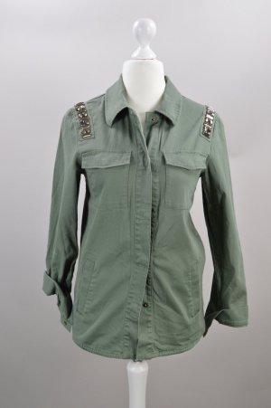 H&M Hemd mit Strasssteinen olivgrün Größe 34