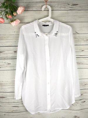 H&M Hemd Weiß mit Strasssteinchen am Kragen, Gr. S