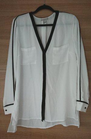 H&M Oversized blouse wit-zwart