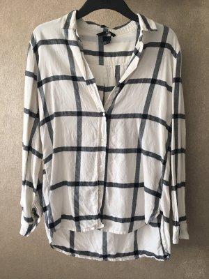H&M Geruite blouse room-zwart