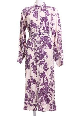 H&M Abito blusa camicia crema-lilla motivo floreale stile casual