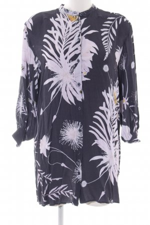H&M Hemdblousejurk zwart-wit bloemenprint casual uitstraling