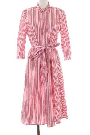 H&M Hemdblusenkleid hellrot-wollweiß Streifenmuster Casual-Look