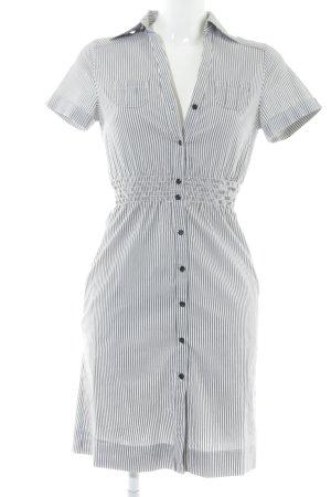H&M Hemdblusenkleid weiß-dunkelgrau Streifenmuster Casual-Look