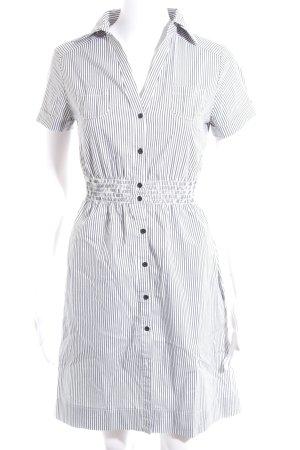 H&M Robe chemise blanc-gris foncé motif rayé style décontracté