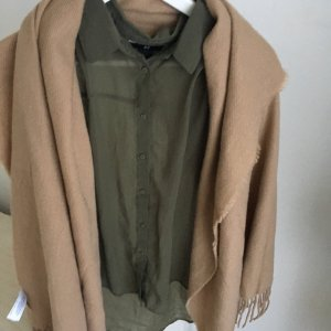 H&M Herbst Bluse Kaki Shirt Gr. 36 Kaki Safari Stil Chiffon Ärmellos