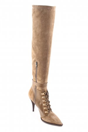 H&M High Heel Stiefel graubraun Materialmix-Look