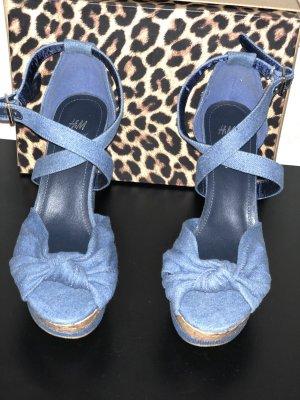 H&M Sandalo con plateau beige-azzurro