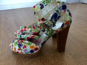 H&M High Heels Pumps Schuhe Riemchen Peeptoe Blumen Floral Weiß 37 Blogger
