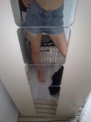 H&M Pantalon taille haute bleu azur