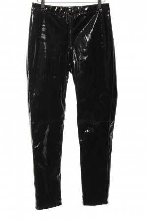 H&M High-Waist Hose schwarz Glanz-Optik