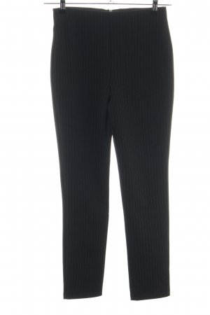 H&M High-Waist Hose schwarz-hellgrau Streifenmuster Business-Look