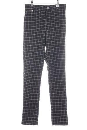 H&M Pantalón de cintura alta negro-blanco estampado de cuadros guinga