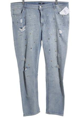 H&M High Waist Jeans blau Street-Fashion-Look
