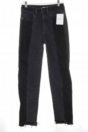 H&M Hoge taille jeans donkergrijs-zwart casual uitstraling