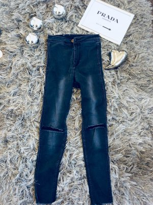 H&M High Waist Jeans black-grey