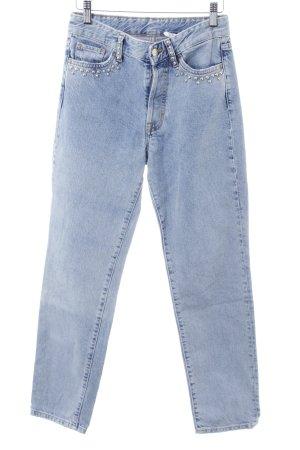 H&M High Waist Jeans himmelblau Washed-Optik