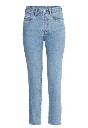H&M Hoge taille jeans azuur gewassen uitstraling