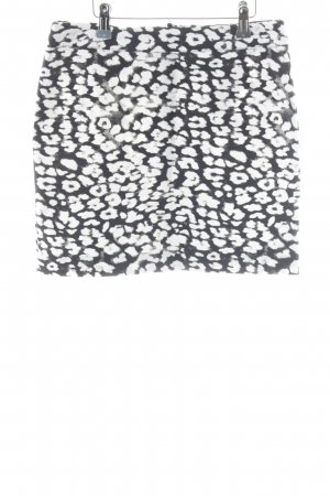 H&M High Waist Skirt white-black abstract pattern casual look