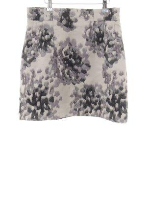 H&M High Waist Rock wollweiß-hellgrau abstraktes Muster Casual-Look