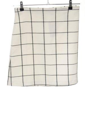 H&M Jupe taille haute crème-noir motif à carreaux style décontracté