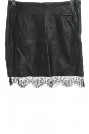 H&M High Waist Rock schwarz Lack-Optik
