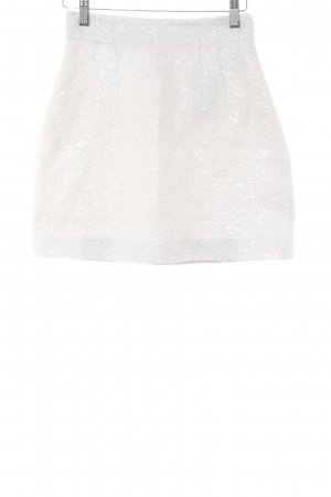 H&M High Waist Skirt white-silver-colored floral pattern glittery