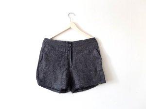 H&M High Waist Shorts Gr. 40 grau schwarz weiß leinen gemsutert
