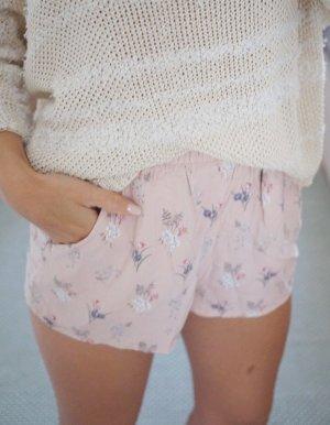 H&M High Waist Shorts rosa rosé Blümchen Blumen Viskose XS 34