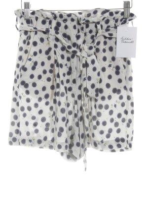 H&M Short taille haute blanc-bleu foncé imprimé abstrait style décontracté