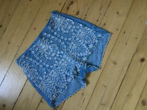 H&М high waist Sommer Shorts Hot Pants Bermuda, blau mit Stickerei, Gr. 34 S like denim