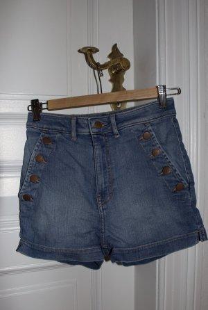 H&M Pantalón corto de talle alto azul celeste-azul acero