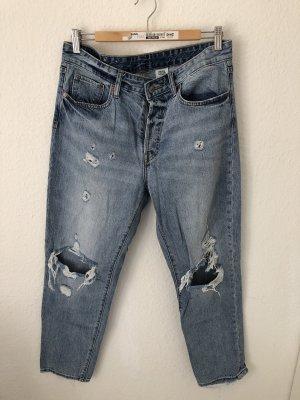 H&M Vaquero de talle alto azul-azul acero