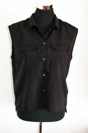 H&M HM Bluse schwarz, halbtransparenter Stoff Gr. 36 / S