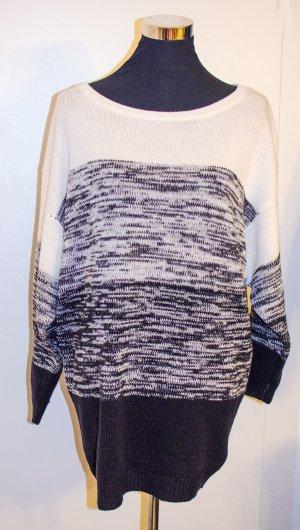 H&M HM DIVIDED Oversized Strick-Pulli Pullover meliert creme-dunkelbraun, S / 36