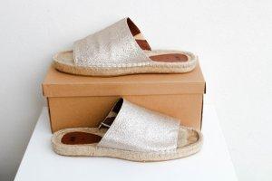 H&M hm hundm flipflops cord stroh sandalen strand strandschuhe vintage boho gold bronze slipper