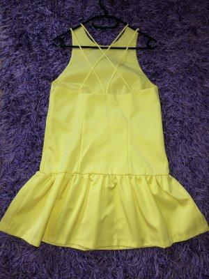 H&M HM Kleid Trägerkleid Volantkleid Party Minikleid gelb Gr. 38